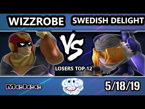 GOML 2019 SSBM - Wizzrobe (Falcon) Vs. Swedish Delight (Sheik) Smash Melee Tournament Losers Top 12