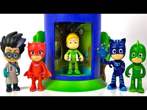 UNBOXING PJ MASKS STACKABLE TRANSFORMING PLAYSET GEKKO AND OWLETTE & STORY WITH ROMEO AND CATBOY