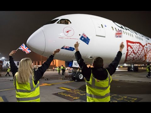 Qantas First of regular non-stop flights between UK and Australia lands at Heathrow