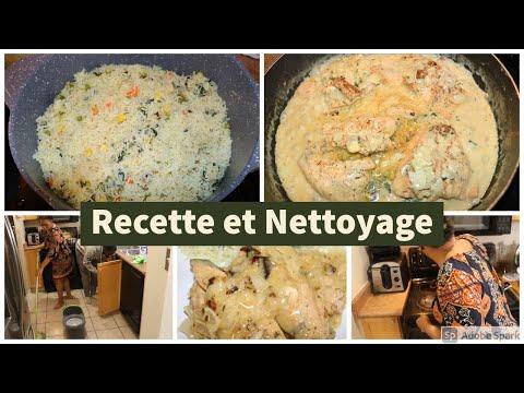recette-filet-de-saumon-a-la-crème-fraîche-avec-riz-aux-légumes- -nettoyage-après-la-cuisson