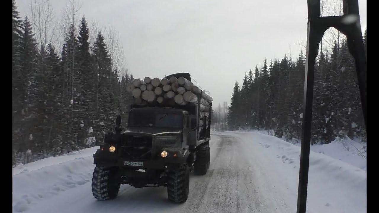 Зимняя вывозка леса в России Опять разгоны Еду на Горелую Урал лесовоз
