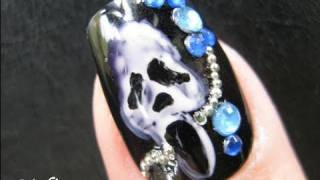 Halloween Nails Art Tutorial - Punk Rock Scream Mask Scary Movies Design Fake Nails Stickers