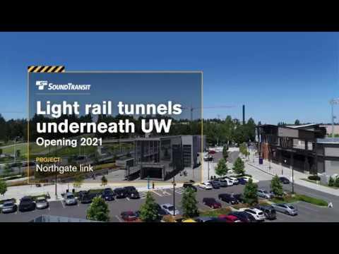 Light rail tunnel path beneath University of Washington