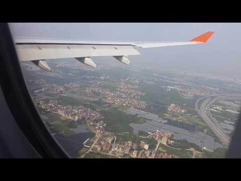 Landing at Guangzhou Airport (China).