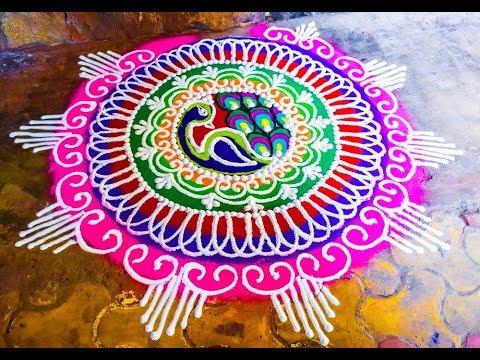Very easy peacock Rangoli for diwali ||  दिवाळी रंगोली