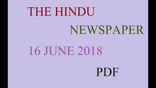 THE HINDU NEWS PAPER  16 JUNE 2018