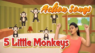 5 Little Monkeys Action Song For Children | Nursery Rhymes | School Learning | Pebbles Rhymes