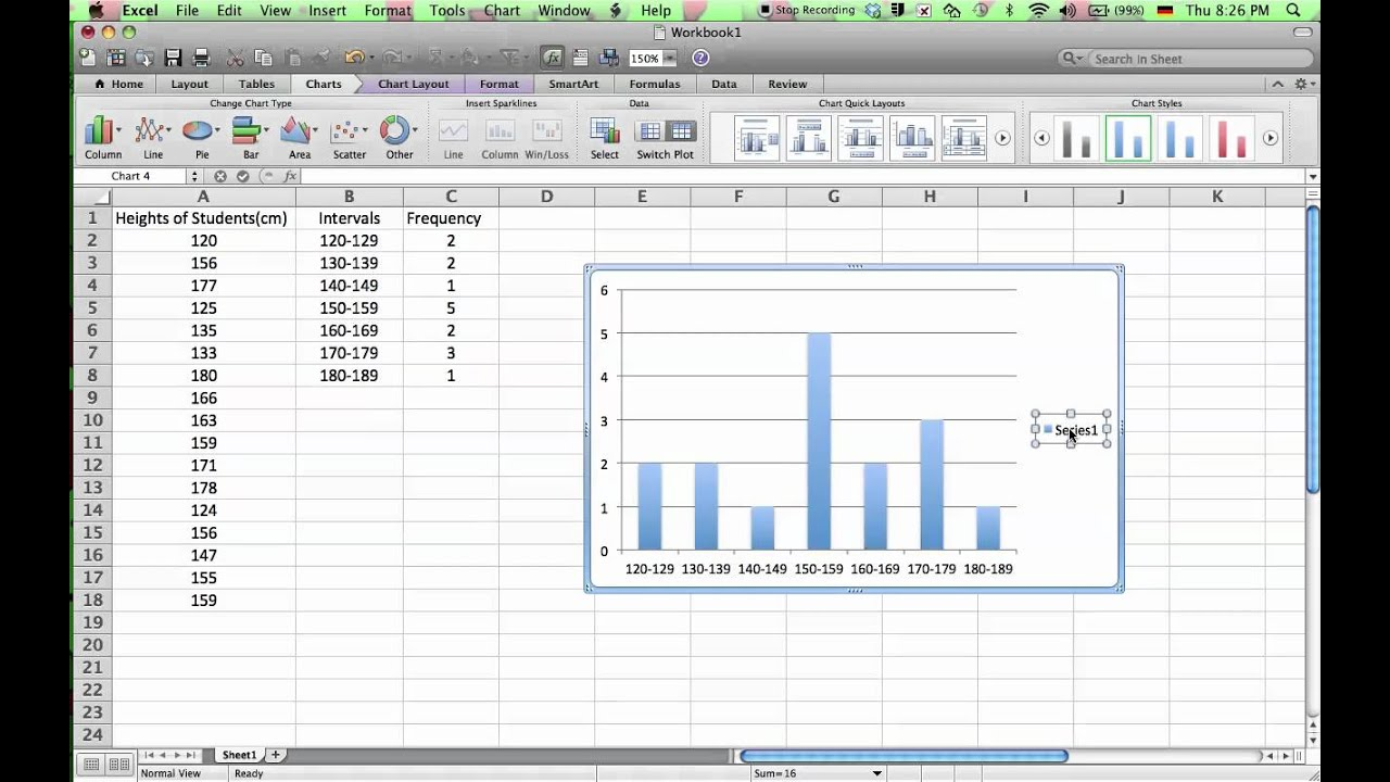 how to make histogram in excel  How to Make a Histogram in Microsoft Excel 2011 - YouTube