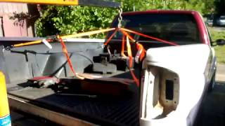 How to remove a truck bed with an engine hoist. One person job