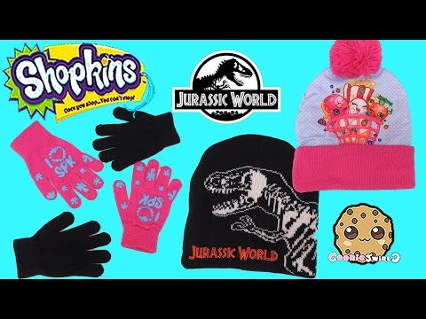 Shopkins, Jurassic World Dinosaur Hat & Gloves Set Review + My Little Pony Cards Video
