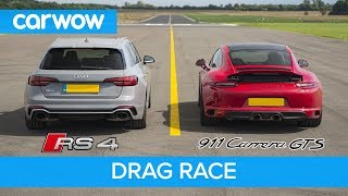 Porsche 911 GTS vs Audi RS4 - DRAG RACE, ROLLING RACE AND BRAKE TEST