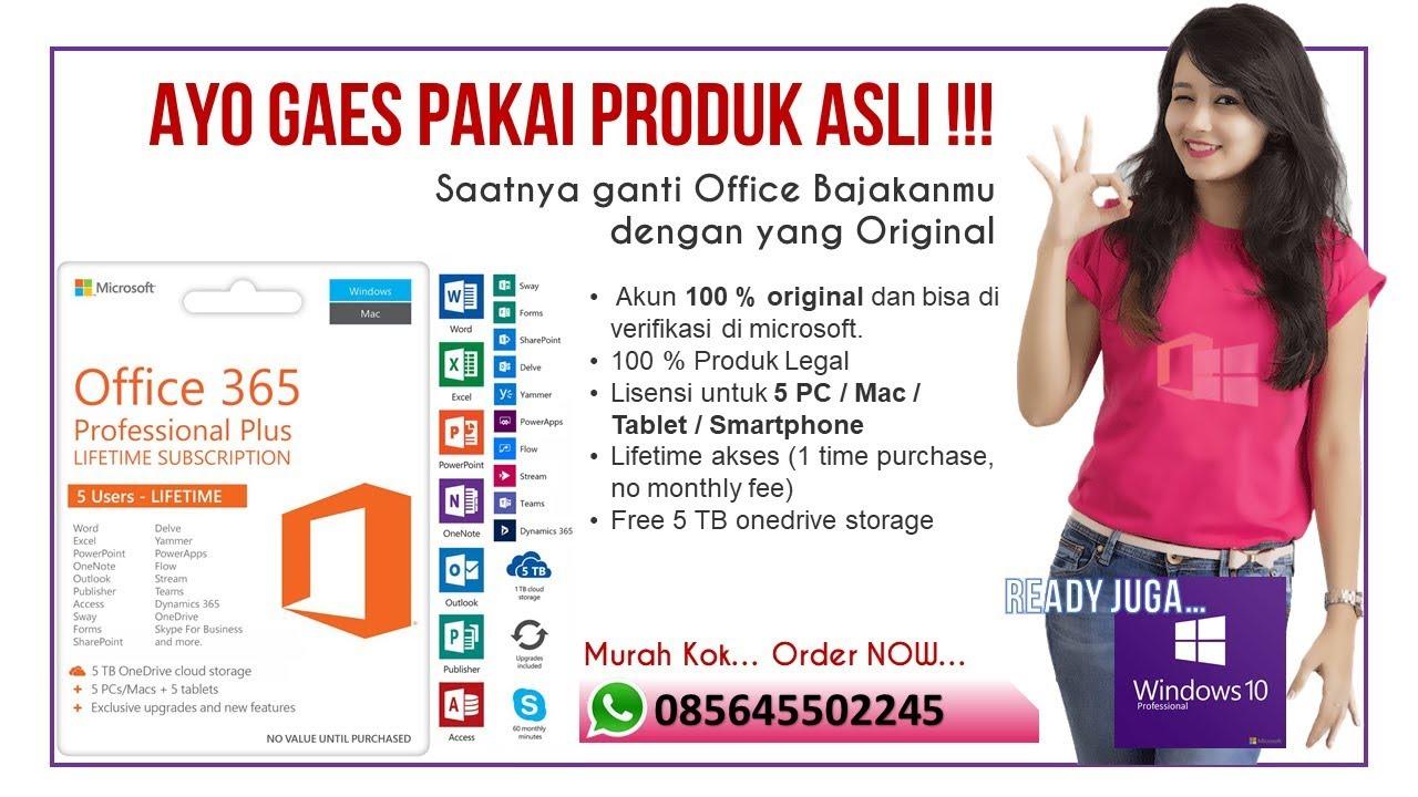 Office 365 Original Lifetime - Free 5 TB Onedrive Storage - Special Price  WA 085645502245