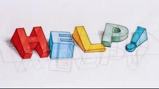 How I draw 3D text - HELP, I