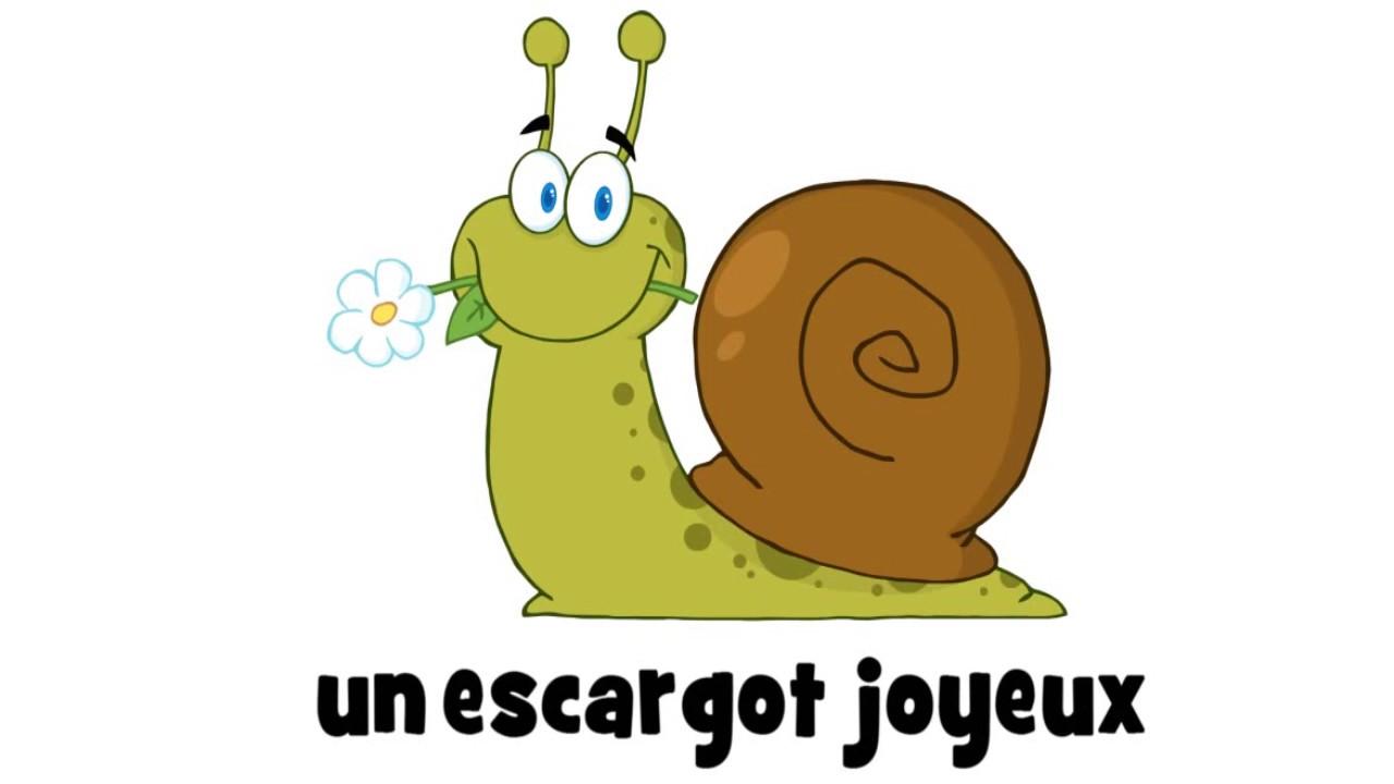 J'apprends le français # 1 dessin par jour # un escargot joyeux - YouTube