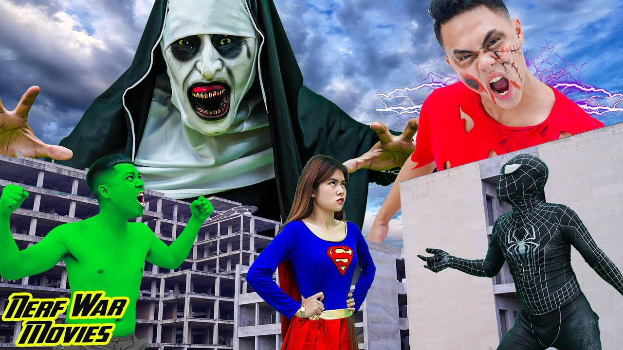 Nerf War Movies: Spiderman X Warriors Nerf Guns Fight Criminal Group Superheroes In Horror Movies