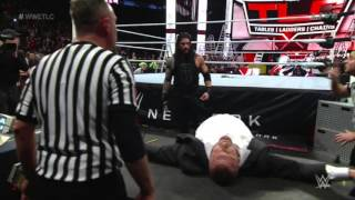 WWE TLC 2015 ROMAN REIGNS SNAPS AND ATTACKS TRIPLE H REVIEW