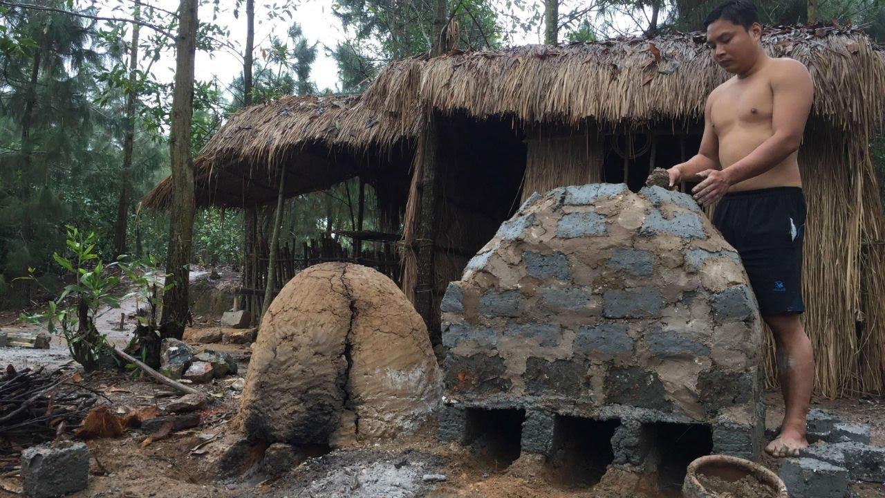 Primitive Technology:Furnace from Brick-Primitive life-wilderness!