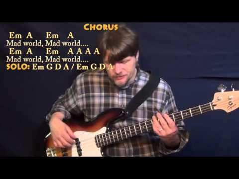 Mad World (Tears for Fears) Bass Guitar Cover Lesson in Em with Chords/Lyrics