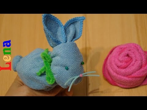 gästetuch-hasen-falten-🐇-diy-towel-bunny-🐇-rabbit-out-of-towel-🐇-зайчик-из-полотенца-в-подарок