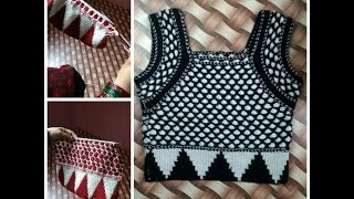 Knitting Sweater for Ladies in Hindi -Half sleeves designer blouse | how to knit woolen blouse part3