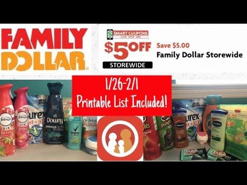 FAMILY DOLLAR 1/26-2/1 $5 Off $25 | 4 Breakdowns W/printable List! SO MANY GOOD ITEMS!