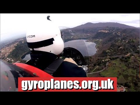 in a gyroplane / gyrocopter over the Roman lakes