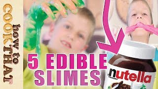5 DIY Edible Candy Slimes *SLIME YOU CAN EAT* Gummy slime, nutella slime, musk stick, psyllium