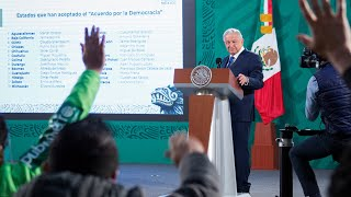Se suman 25 gobernadores al Acuerdo Nacional por la Democracia. Conferencia presidente AMLO