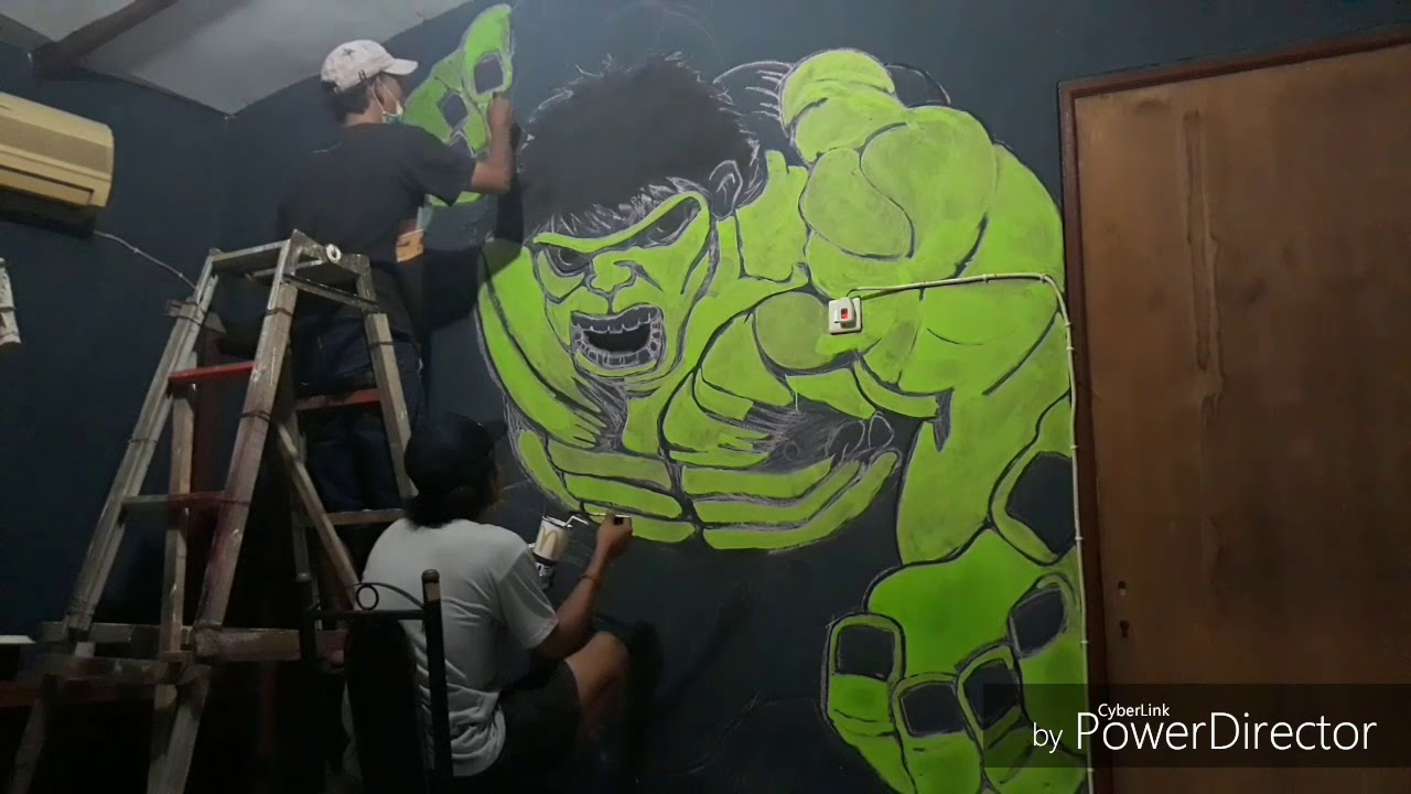 Menggambar Hulk 3d Di Dinding Youtube