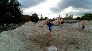 Первая тренировка по акробатике 2016