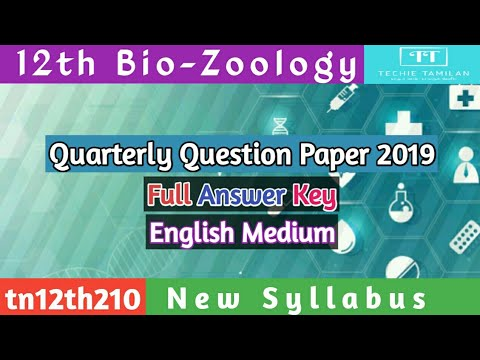 12th Bio-Zoology Quarterly Question Paper Full Answer Key (English Medium) | SVB | 2019 To 2020