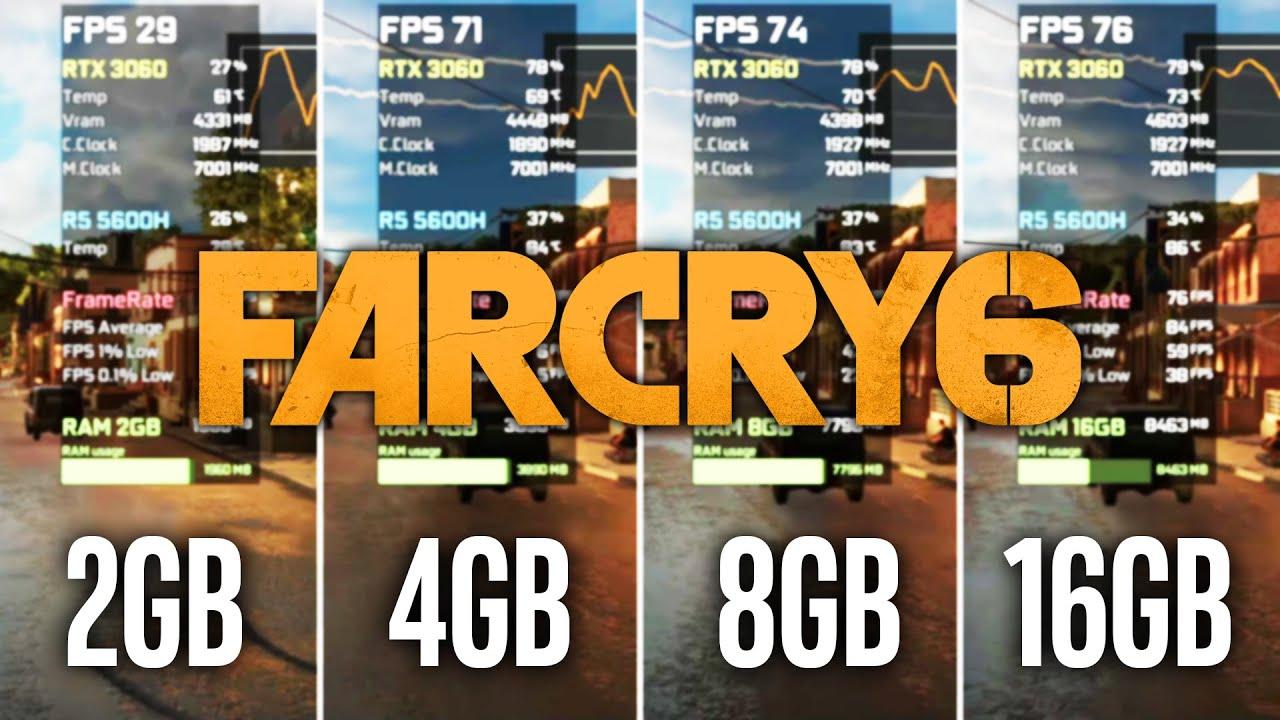 Far Cry 6 - 2GB vs 4GB vs 8GB vs 16GB RAM