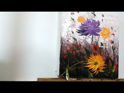 Paint Dahlias flower with Acrylic Paints and a Palette Knife/Acrylic Techniques…Demonstration