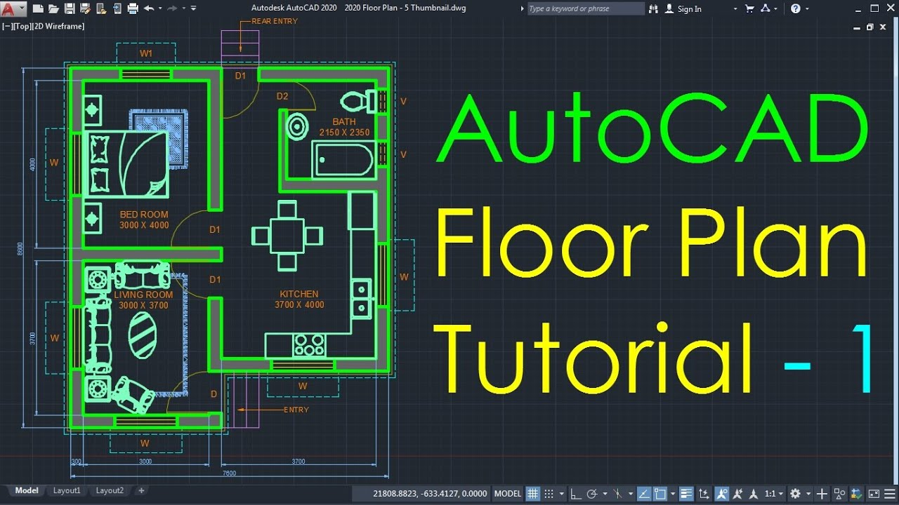 Autocad Simple Floor Plan For Beginners 1 Of 5 Youtube