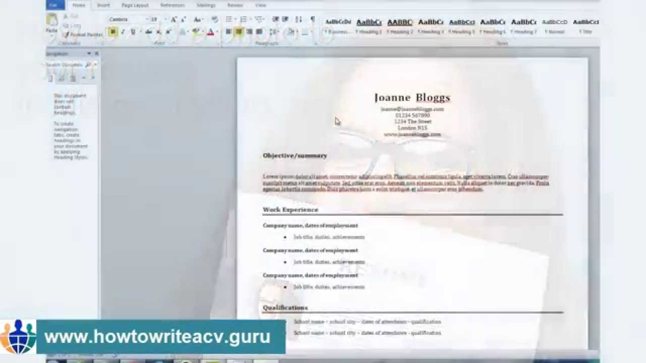 How To Add A Photo To Your Résumé In Microsoft Word 2010   YouTube  Resume Templates In Word 2010