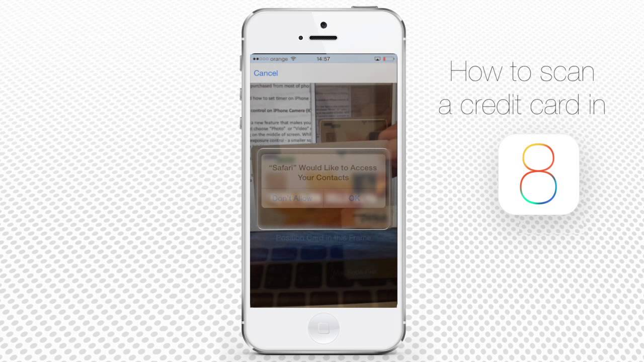 how to scan a credit card in safari on iphone and ipad