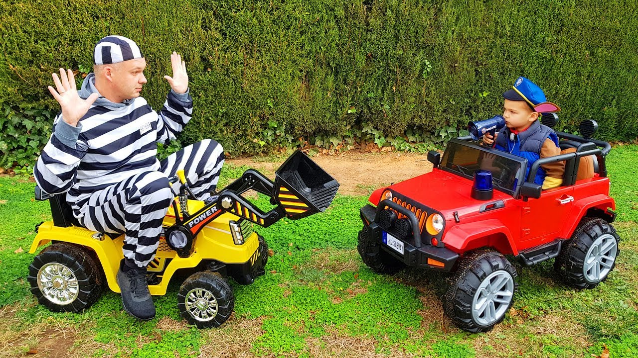The Man take power wheels tractor - Paw Patrol try to catch a man