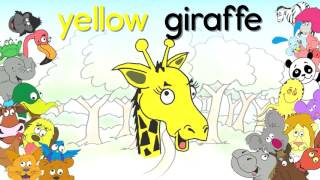 Урок английский для детей. Цвета и животные - прилагательное существительное