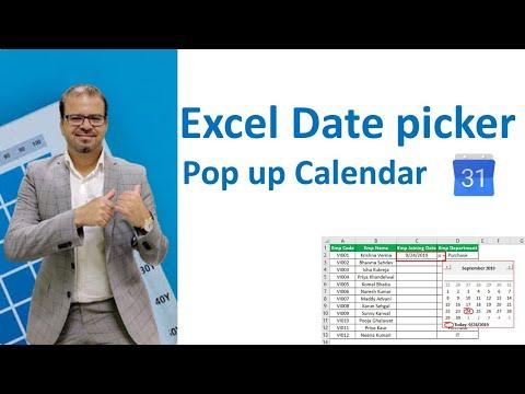 Date picker : Popup Calendar for Excel