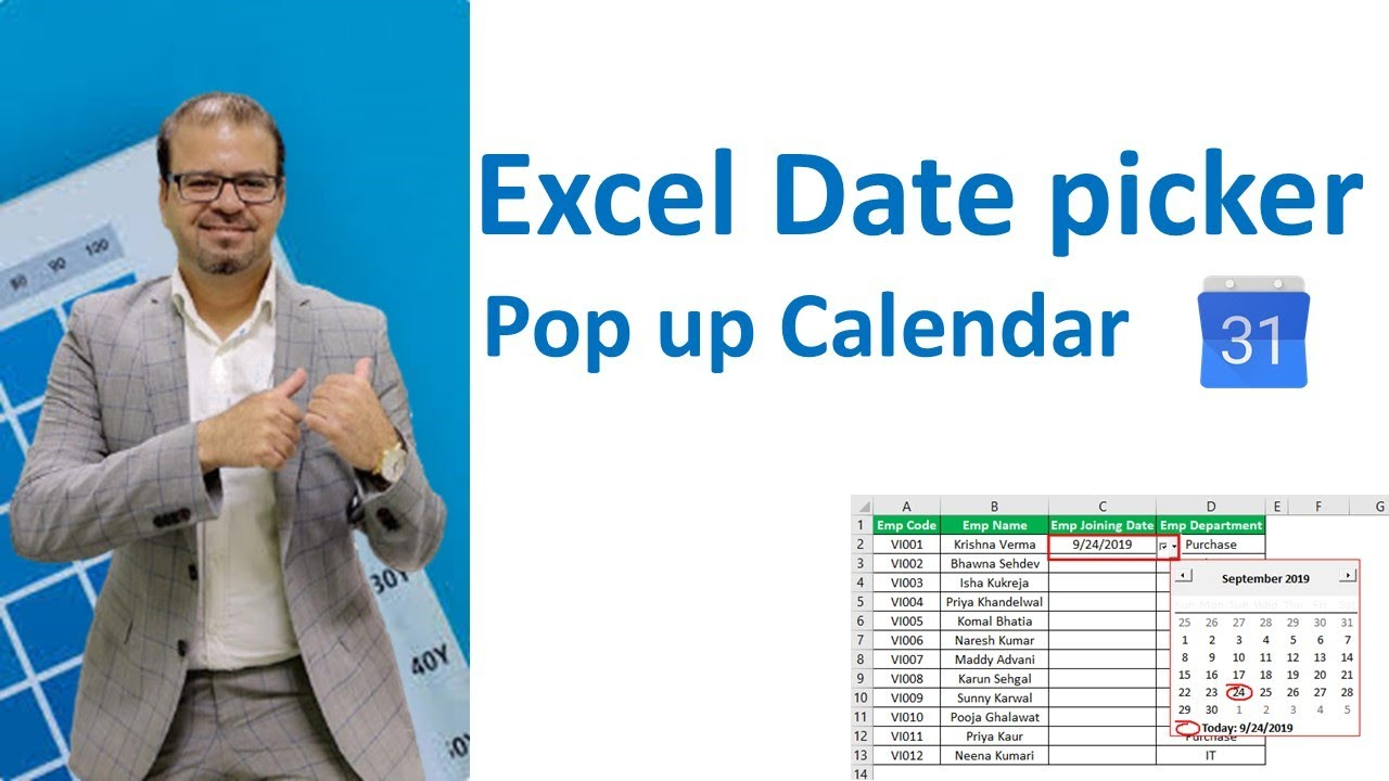 Date picker : Popup Calendar for Excel