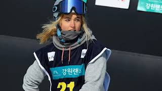 Emily Arthur is an Australian snowboarder at halfpipe at Winter Olympics Pyeongchang, 2018
