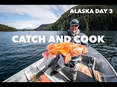 GIANT ALASKAN ROCKFISH CATCH AND COOK! Alaska Day 3!!