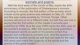 The perfect time to celebrate Shakespeare love poems and other sonnets