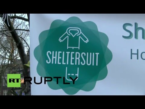 Netherlands: Free 'Sheltersuit' that converts to sleeping bag handed out to homeless