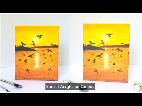 Sunset Landscape Painting tutorial|Beginner Silhouette Painting ideas|Acrylic on canvas Painting