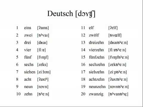 how to say 0-20 in german