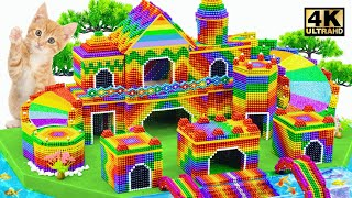 ASMR Video | Build Kitty Royal Palace & Double Rainbow Slide Aquarium Around From Magnet Balls
