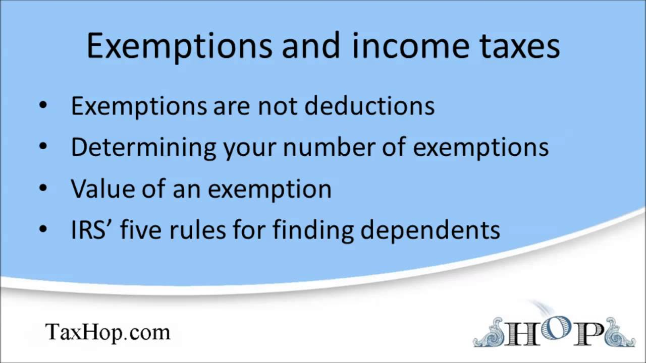 Exemptions and income taxes youtube falaconquin