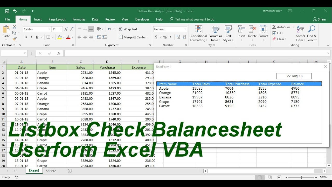 listbox check balance sheet use sumif userform excel vba youtube