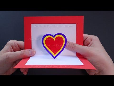 Muttertagsgeschenke Basteln Pop Up Karten Mit Herz Selber Machen Diy